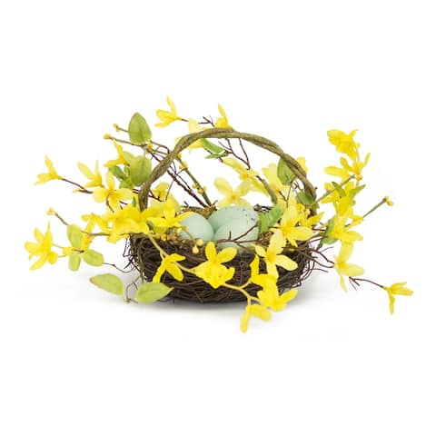 Set of 4 Green and Yellow Bird Nest with Forsythia 6.25