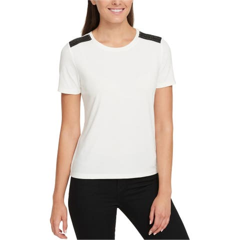 Tommy Hilfiger Womens Faux-Leather Basic T-Shirt