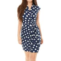 Allegra K Women Polka Dots Sleeveless Tie Waist Above Knee Wrap Dress