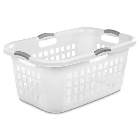 Sterilite 12168006 Ultra Laundry Basket, White w/Titanium Handles, 2 Bushel