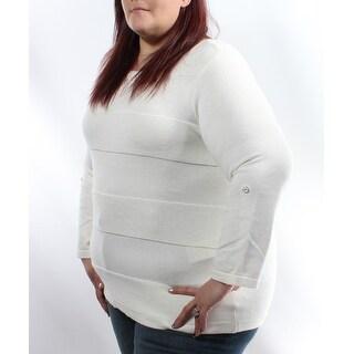 Womens White Striped 3/4 Sleeve Jewel Neck Sweater Size 2X