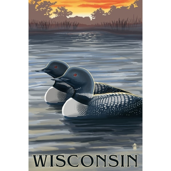 WI - Loons at Sunset - LP Artwork (100% Cotton Towel Absorbent)
