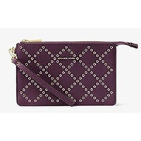 d4edd6bbc667f Shop Michael Kors Jet Set Large Leather - Clutch - Pearl Grey ...
