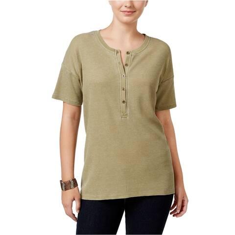 G.H. Bass & Co. Womens Burnout-Dyed Henley Shirt
