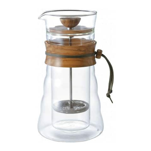 Hario Double Glass Coffee Press (400ml, Olivewood)