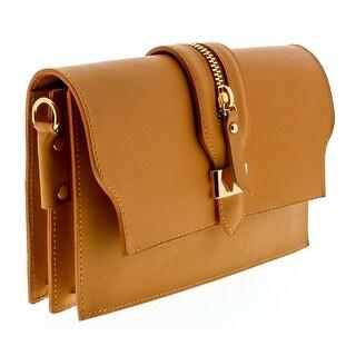HS1168 CU CLO Tan Leather Clutch/Shoulder Bag - 8.5-6.5-2.5