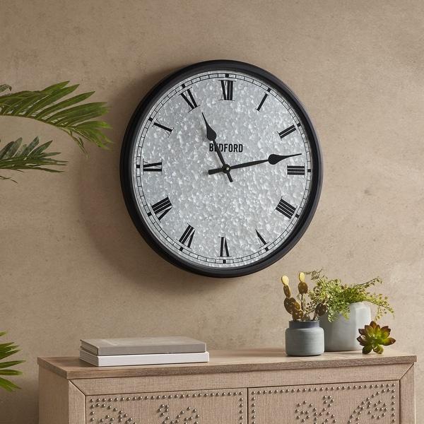 Martha Stewart Otis Silver/ Black Galvanized Round Clock. Opens flyout.