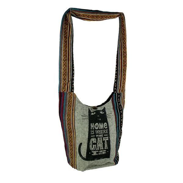 Cat Is Home Tribal Stripe Boho Cotton Crossbody Bag. Opens flyout.