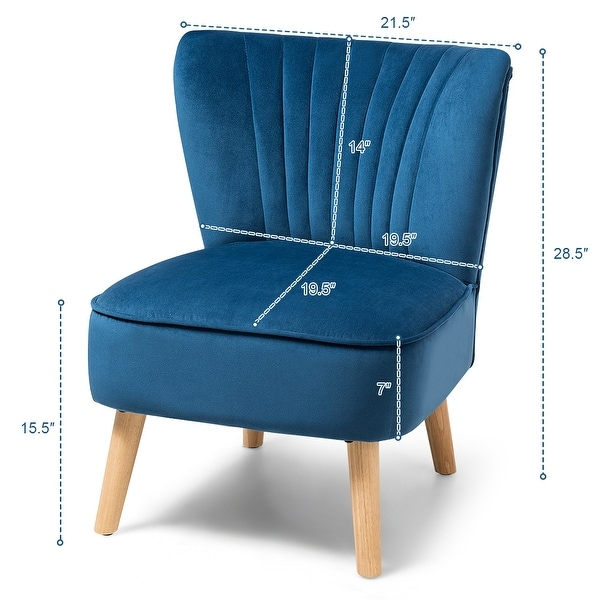 Costway Armless Accent Chair Modern Velvet Leisure Chair Single