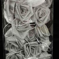 Club Pack of 6 Elegant Silver Rose Flower Wired Craft Garland 9'