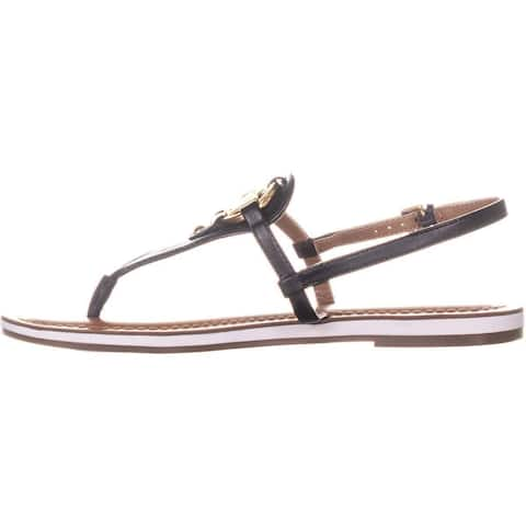 a5ffdca55 Tommy Hilfiger Womens Genei Leather Open Toe Casual T-Strap Sandals