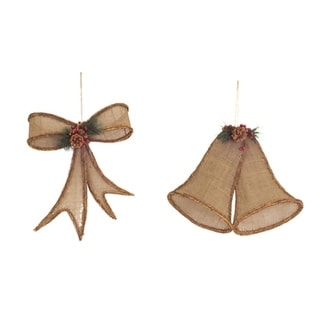 """Pack of 2 Brown Burlap Hanging Bell and Bow 18"""""""