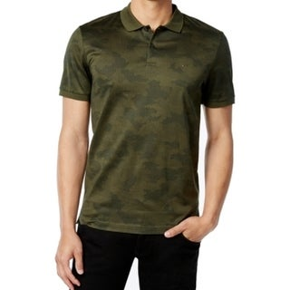 Michael Kors NEW Green Mens Size L Polo Rugby Camo Short Sleeve Shirt
