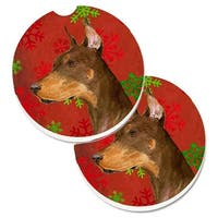 Doberman Red & Green Snowflakes Holiday Christmas Set of 2 Cup