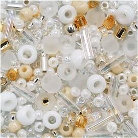 Toho Multi-Shape Glass Beads Hasu White Color Mix 8 Gram Tube