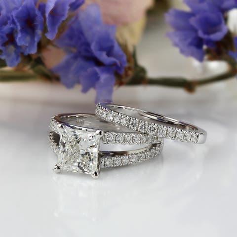 Auriya 2 5/8ctw Princess-cut Diamond Engagement Ring Set 14k Gold