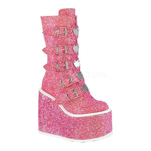 Demonia Women's Swing 230G Knee High Boot Pink Glitter