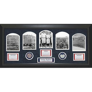 1923 Yankee Stadium 5 Photo Game Used Commemorative Dirt Collage 14x32