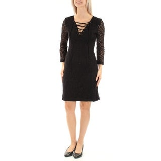 Womens Black 3/4 Sleeve Above The Knee Sheath Evening Dress Size: 6