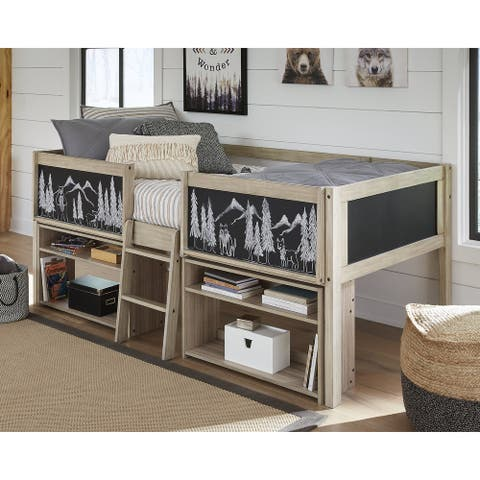 Wrenalyn Twin Loft Bed with Under Bed Bookcase Storage