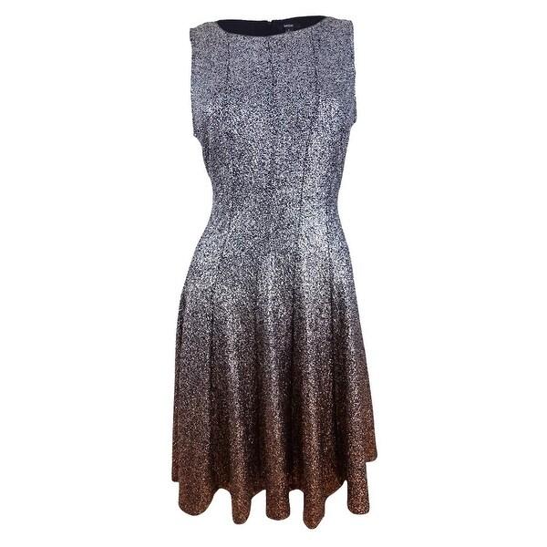 Msk Women's Glitter Ombre Metallic Fit & Flare Dress