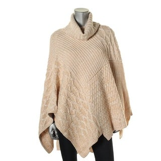 525 America Womens Turtleneck Two Tone Poncho Sweater - o/s