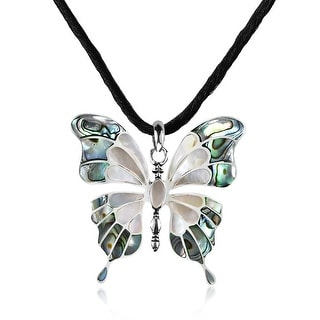 Link to Handmade Seashell Inlaid Butterfly on Sterling Silver Silk Chord Necklace (Thailand) - Green Similar Items in Necklaces
