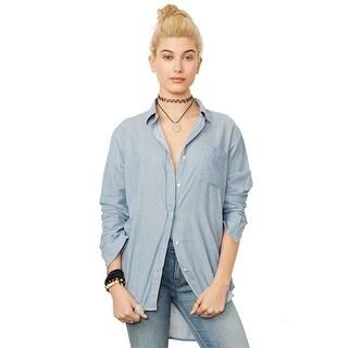 Denim Supply Ralph Lauren Long Sleeve Boyfriend Shirt Faded Indigo - l