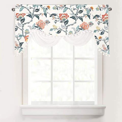 DriftAway Ada Sketch Botanical Flower Floral Window Curtain Swag Valance - 52 x 28