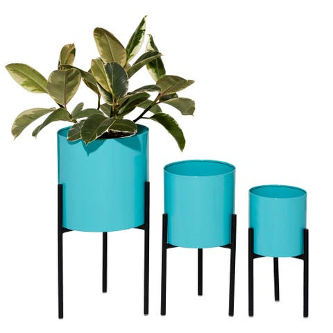 "Round Teal Metal Planters Set Of 3 10"" 13"" 14"" - 10 x 10 x 18"
