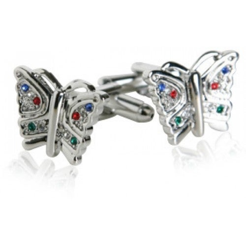 Multi-Colored Crystal Butterfly Cufflinks Insect