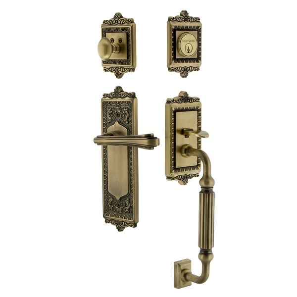 Nostalgic Warehouse EADFLR_ESET_234_FG_LH Egg & Dart Left Handed Sectional Single Cylinder Keyed Entry Handleset with F Grip