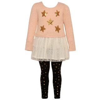 Real Love Little Girls Gold Glitter Star Applique 2 Pc Legging Outfit 2T