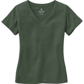 Legendary Whitetails Ladies Signature Buck V-Neck T-Shirt - Army