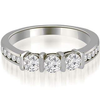 0.80 CT.TW Bar & Channel Set Round Cut Diamond Wedding Band in 14KT Gold - White H-I