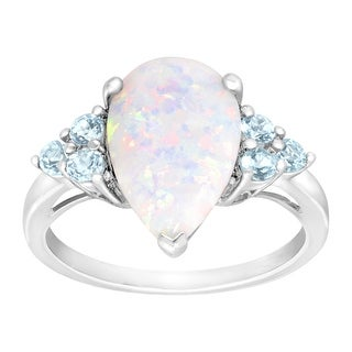 1 3/4 ct Created Opal & Natural Sky Blue Topaz Ring in Sterling Silver