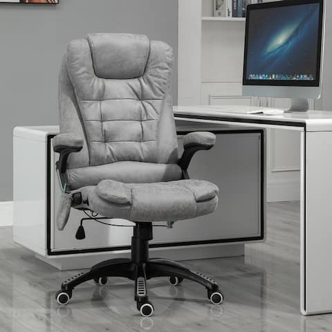 Vinsetto Ergonomic Vibrating Executive Massage Office Chair, with Wheels, Adjustable Height, Leatheraire Fabric