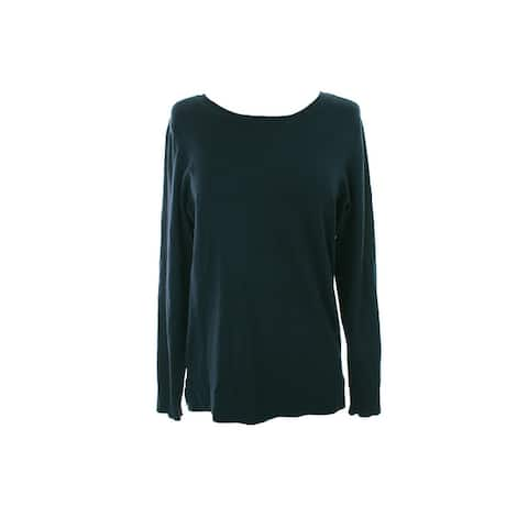 Alfani Midnight Teal Long-Sleeve Crewneck Sweater XS