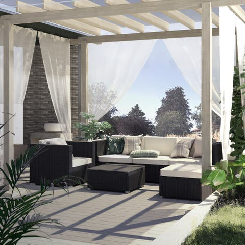 All Weather Wicker Outdoor 4-Piece Patio Sectional Set
