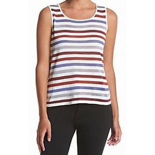 Anne Klein NEW Red Burnt Sienna Women's Size Large L Striped Tank Top