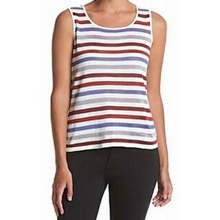 Anne Klein NEW Red Burnt Sienna Women's Size Medium M Striped Tank Top