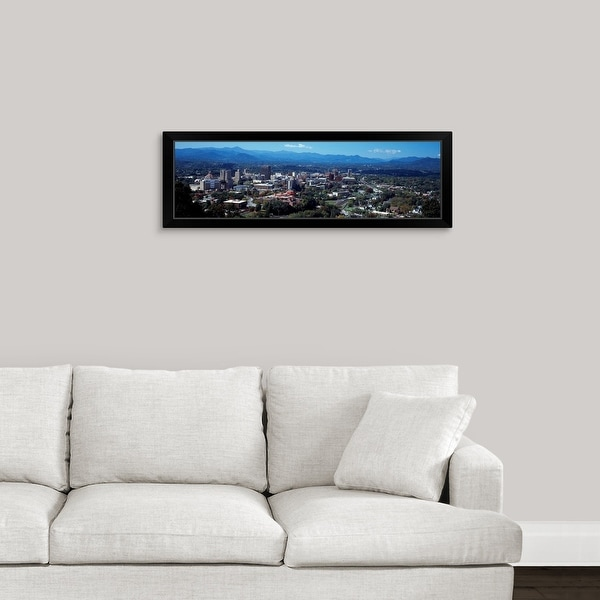 """""""Aerial view of a city, Asheville, Buncombe County, North Carolina"""" Black Framed Print"""