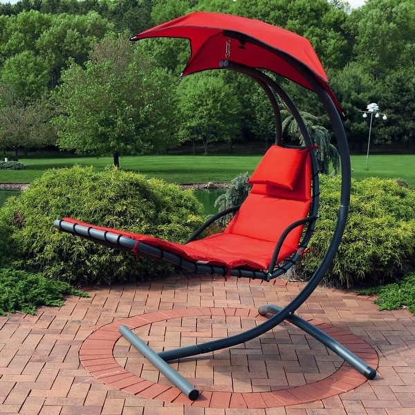 Shop Sunnydaze Floating Chaise Patio Lounger Swing Chair