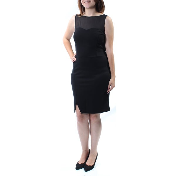 KENSIE Womens Black Zippered Sleeveless Illusion Neckline Above The Knee Sheath Dress Size: S