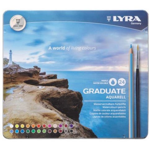 Graduate Aquarell Colored Pencils, Metal Box of 24