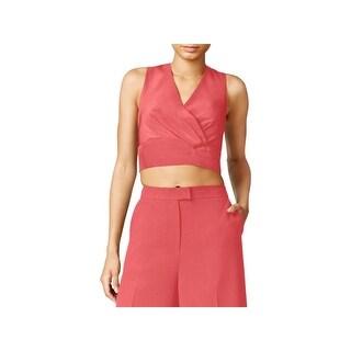 Rachel Rachel Roy Womens Crop Top Sleeveless Zip-Back