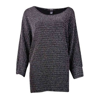 Alfani Women's Metallic Shimmer Dolman Sleeve Sweater - silver lurex