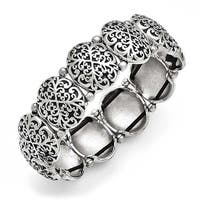 Chisel Stainless Steel Polished/Antiqued Oval Stretch Bracelet