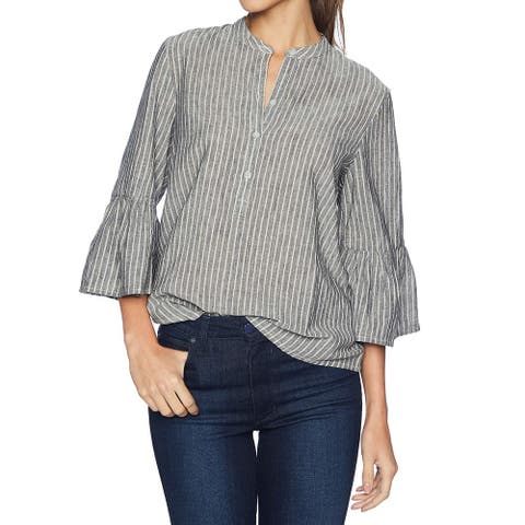 Lucky Brand Womens Top Gray Size Small S 3/4 Bell Sleeve Stripe V-Neck