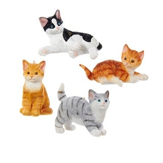 """3.5"""" Black and White Laying Cat Decorative Christmas Ornament"""